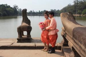Cambodian Couple at Angkor Wat