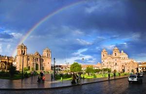 Rainbow over Cusco Main Square